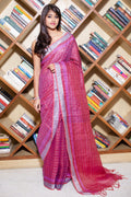 Linen Saree in Red
