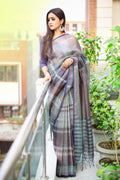 Cotton Saree in Grey and Blue