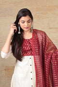Chanderi Kurta & Pants in off white, hand woven Chanderi dupatta in maroon & gold (set of 3)