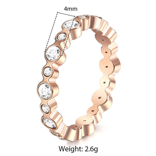 Rose Gold color Wave Cubic Zircon Ring for Women Stainless Steel Ring Wedding Band Woman Engagement Jewelry Gifts 4mm KRM44