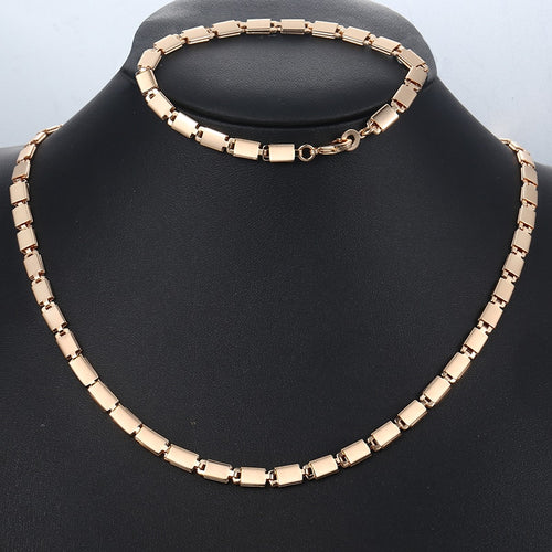 585 Rose Gold Jewelry Set For Women Girl Light Marina Stick Chain Bracelet Necklace Set Woman Jewelry Gift Dropshipping 5mm CS08