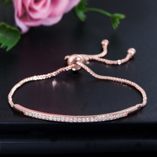 Adjustable Bracelet Bangle for Women Captivate Bar Slider Brilliant CZ Rose Gold Color Jewelry Pulseira Feminia CB089