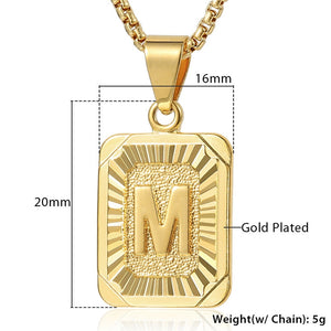 Initial Letter Pendant Name Necklack Yellow Gold Letter J K Necklace For Women Men Best Friend Jewelry Gifts Dropshipping GPM05D