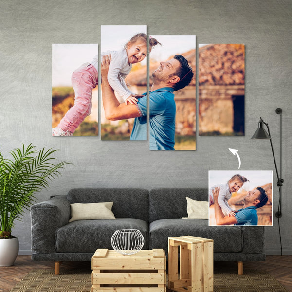 Custom Famliy Photo Canvas Wall Decor Painting With 4 Pieces  No Frame