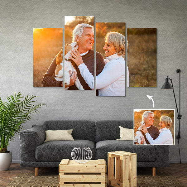 Custom 4 Pieces Canvas Wall Decor Painting - Best Gift Idea With Your Photo No Frame