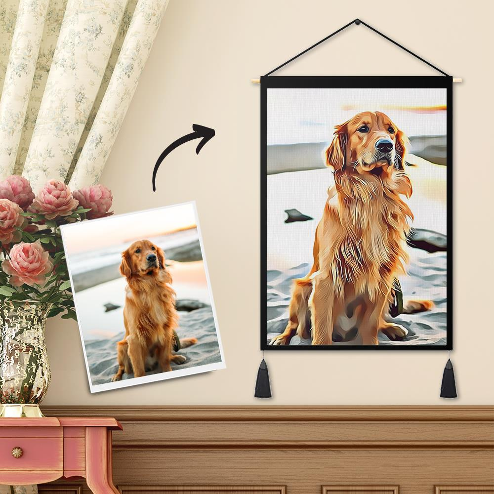 Personalized Custom Pet Photo Tapestry - Art Painting Wall Decor Hanging Fabric Hanger Frame Poster