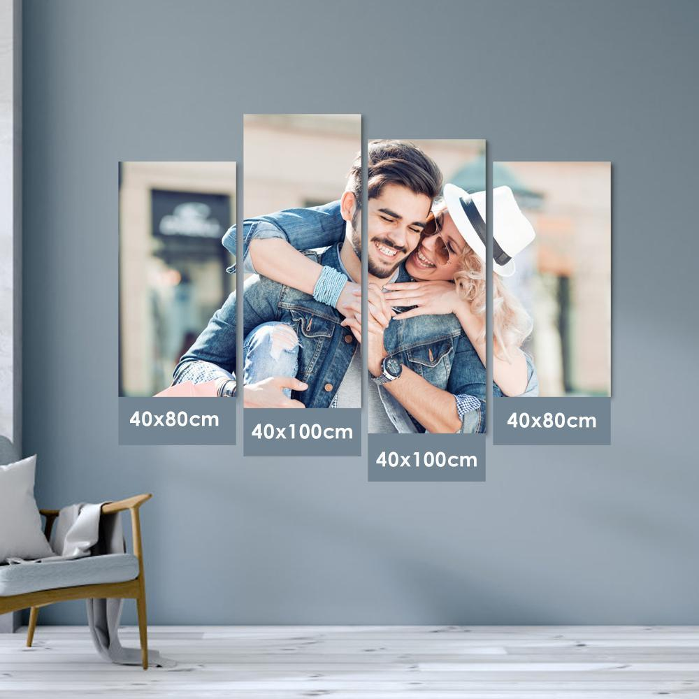 Custom Wall Decor Painting Photo Canvas - For Couple (3 Sizes & 4 Pieces )  No Frame