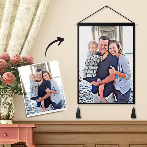 Personalized Custom Family Photo Tapestry - Wall Decor Hanging Fabric Painting Hanger Frame Poster