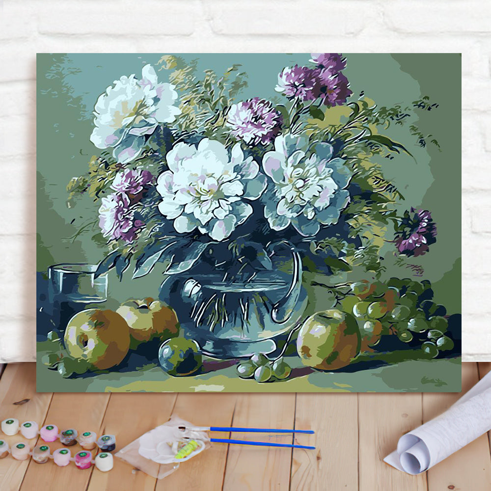 DIY Paint By Numbers Custom Photo Painting Home Decor Wall Hanging-European Flowers Painting