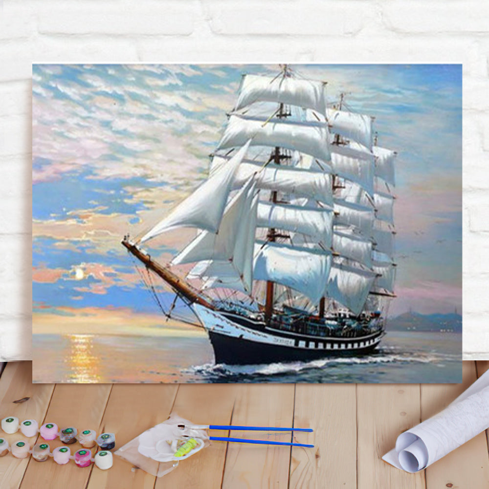 DIY Paint By Numbers Custom Photo Painting Home Decor Wall Hanging-Set Sail Painting