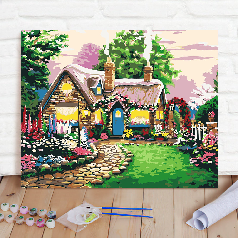 DIY Paint By Numbers Custom Photo Painting Home Decor Wall Hanging-Fairy tale house Painting