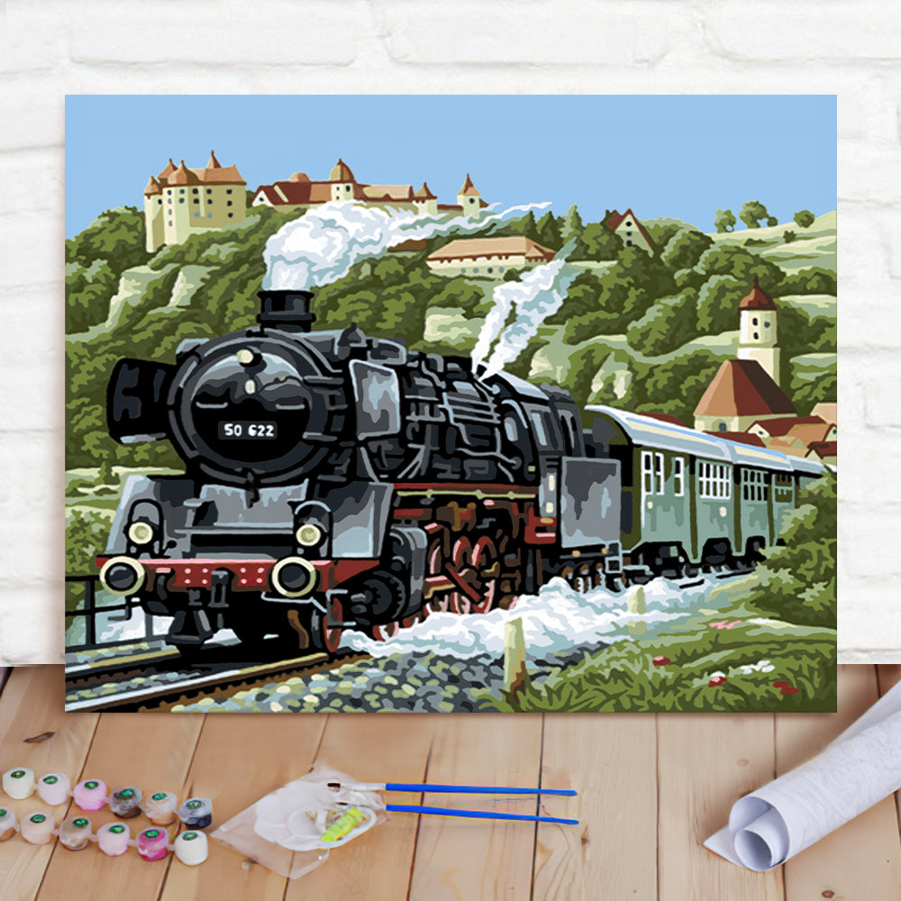 DIY Paint By Numbers Custom Photo Painting Home Decor Wall Hanging-Steam locomotive Painting