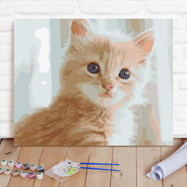DIY Paint By Numbers Custom Photo Painting Home Decor Wall Hanging-Cat Pussy Cat Painting