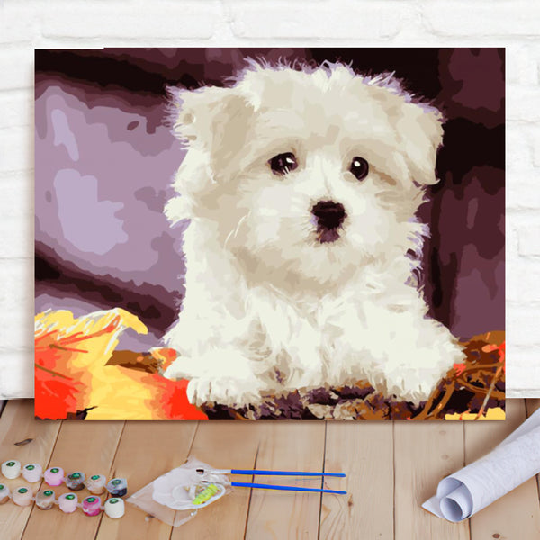 DIY Paint By Numbers Custom Photo Painting Home Decor Wall Hanging-Dog Painting