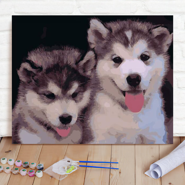 DIY Paint By Numbers Custom Photo Painting Home Decor Wall Hanging-Husky Painting