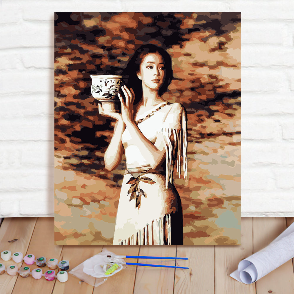 DIY Paint By Numbers Custom Photo Painting Home Decor Wall Hanging-Girl Holding Ceramic Painting