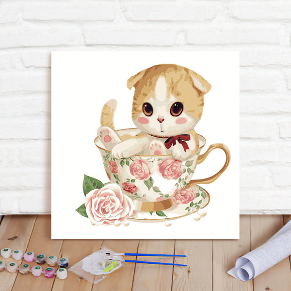 DIY Paint By Numbers Custom Photo Painting Home Decor Wall Hanging-Little Yellow Cat Painting