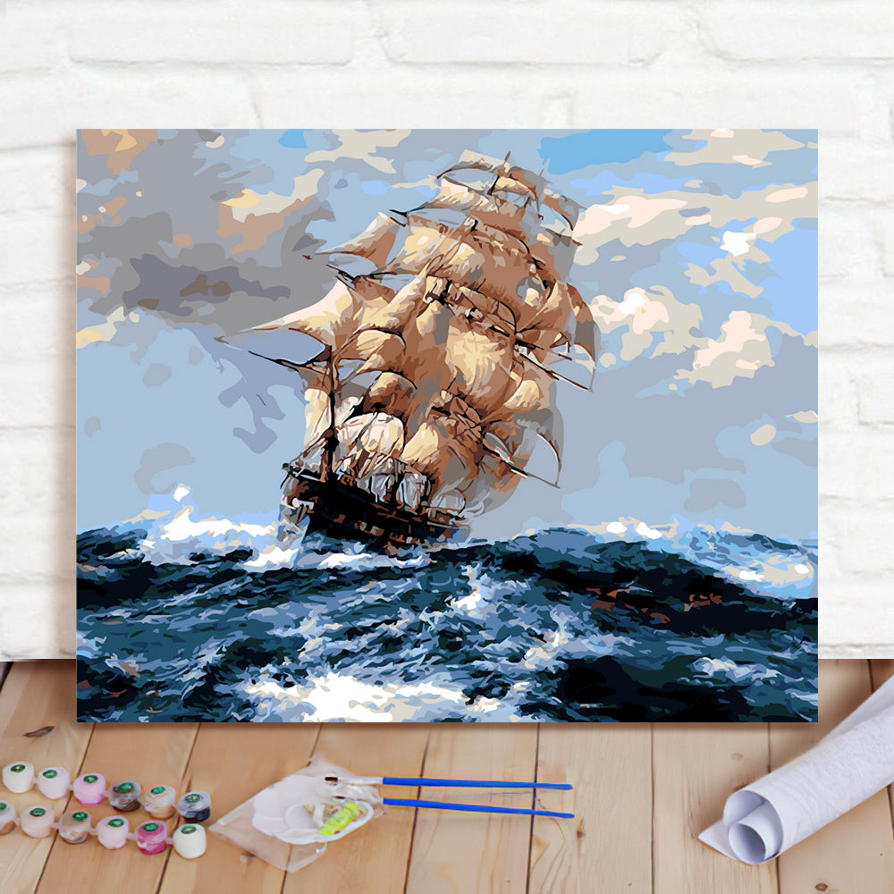 DIY Paint By Numbers Custom Photo Painting Home Decor Wall Hanging-Ride The Wind And Waves Across The Board Painting