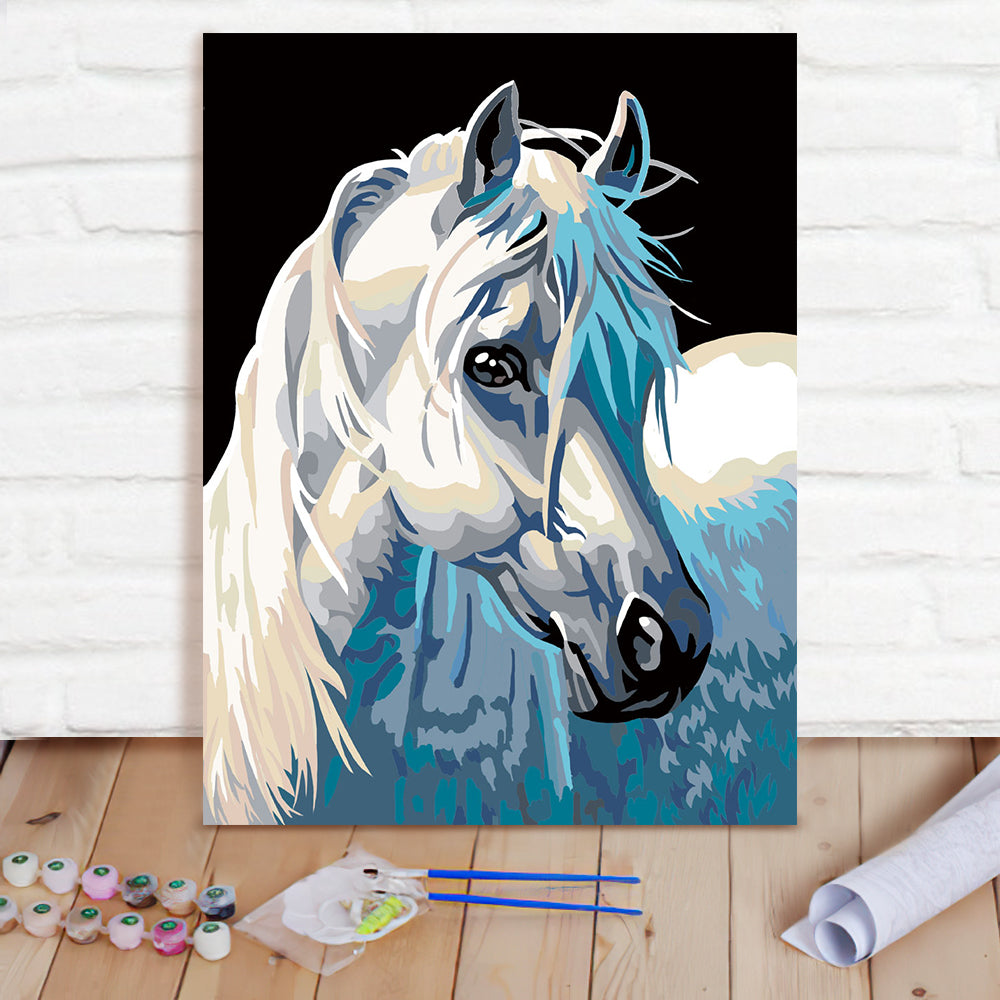 DIY Paint By Numbers Custom Photo Painting Home Decor Wall Hanging-White Horse Painting