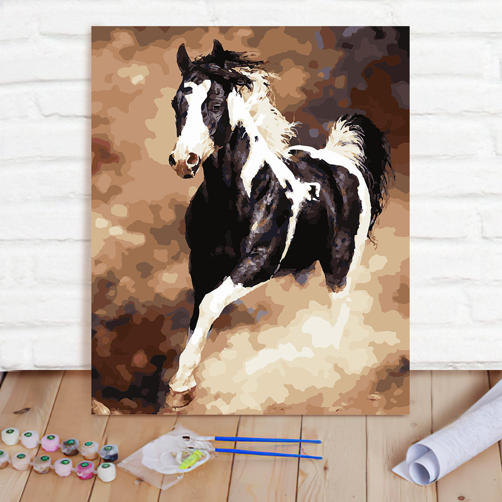 DIY Paint By Numbers Custom Photo Painting Home Decor Wall Hanging-Black And White Horse Painting