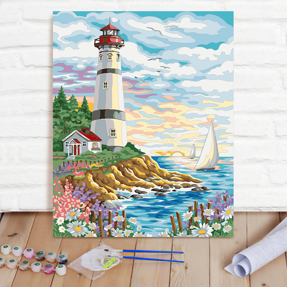 DIY Paint By Numbers Custom Photo Painting Home Decor Wall Hanging-Lakeside Castle Painting