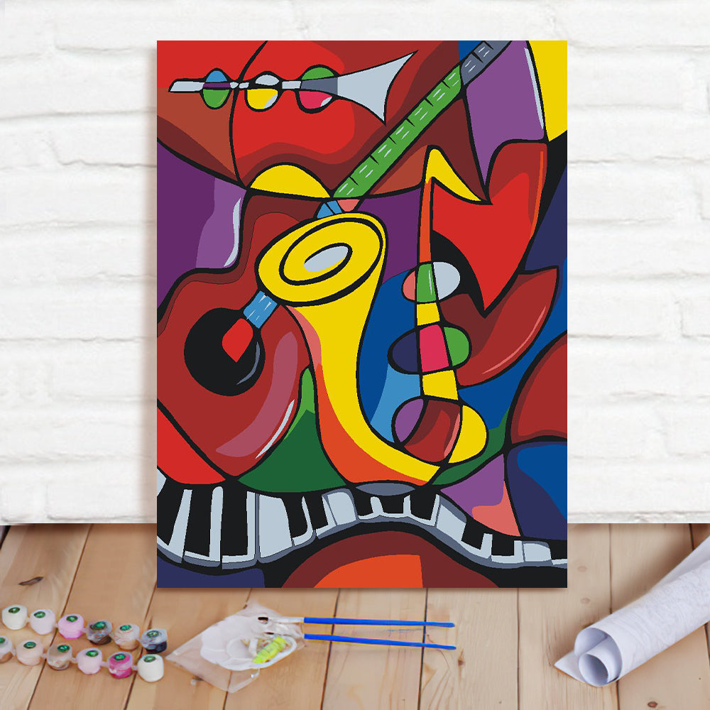 DIY Paint By Numbers Custom Photo Painting Home Decor Wall Hanging-Music World Painting
