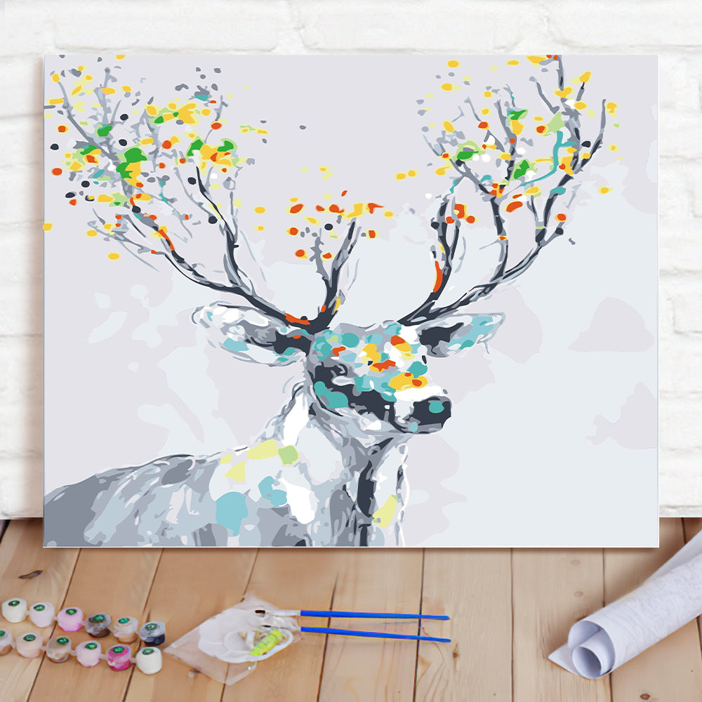 DIY Paint By Numbers Custom Photo Painting Home Decor Wall Hanging-Color Deer Painting