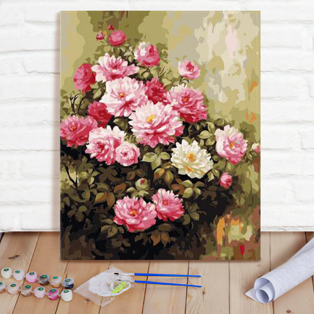 DIY Paint By Numbers Custom Photo Painting Home Decor Wall Hanging-Beautiful Pink flowers Painting
