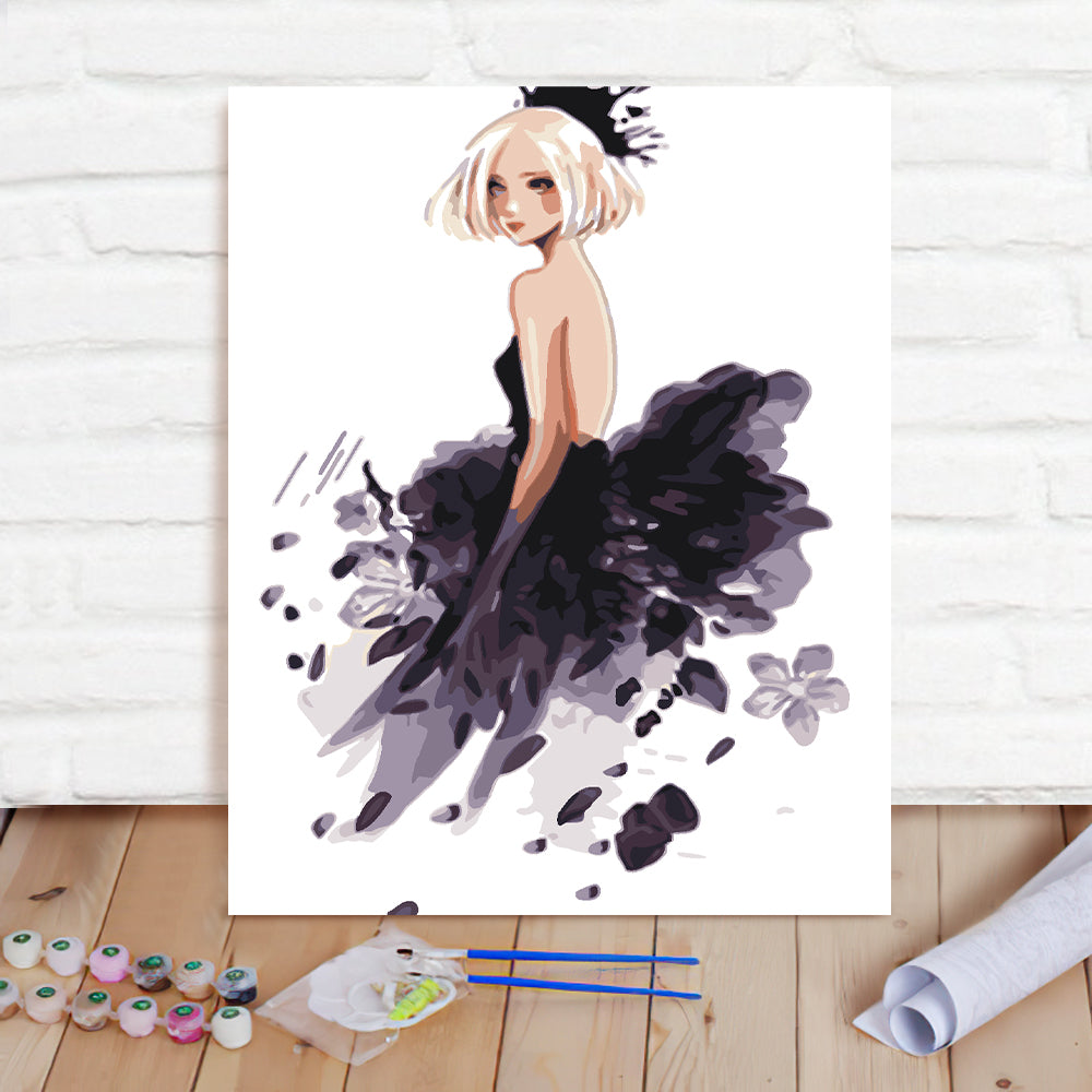 DIY Paint By Numbers Custom Photo Painting Home Decor Wall Hanging-Girly Dress Painting