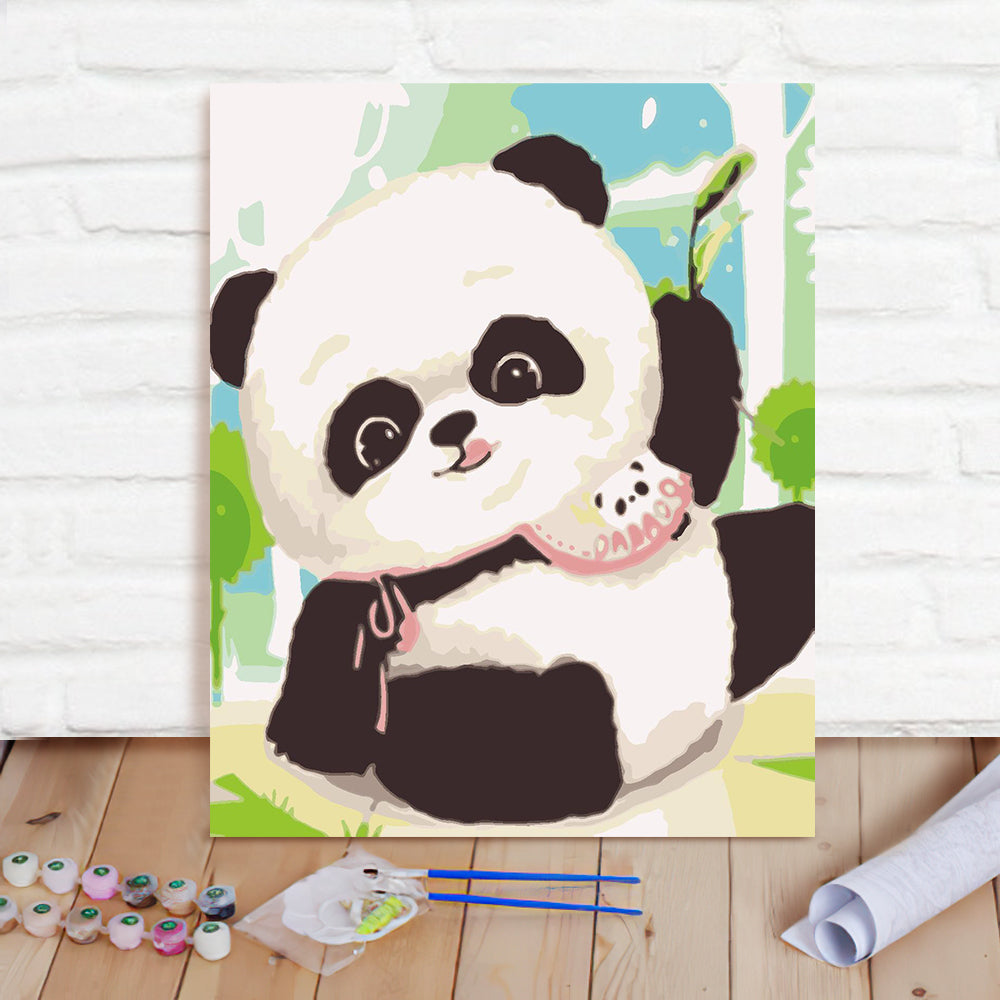 DIY Paint By Numbers Custom Photo Painting Home Decor Wall Hanging-Naughty Panda Painting