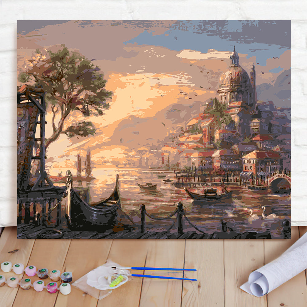 DIY Paint By Numbers Custom Photo Painting Home Decor Wall Hanging-Pretty Castle Painting