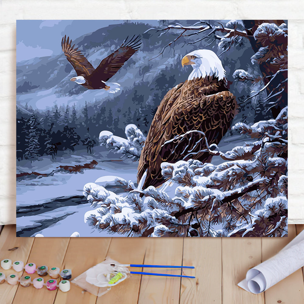 DIY Paint By Numbers Custom Photo Painting Home Decor Wall Hanging-Snow Eagle Painting