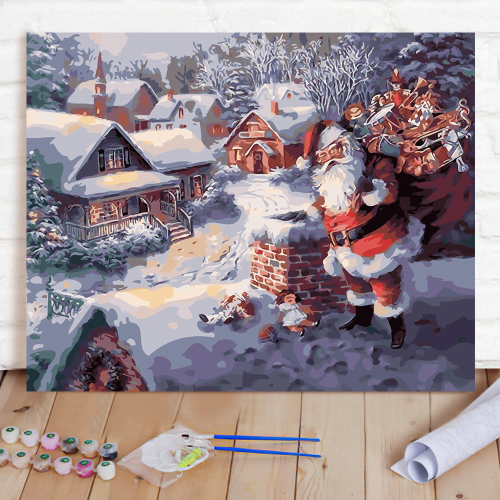 DIY Paint By Numbers Custom Photo Painting Home Decor Wall Hanging-Cute Santa Painting