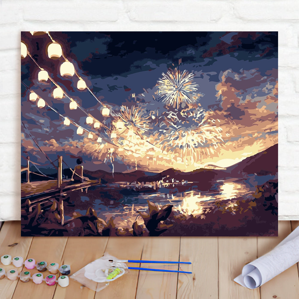 DIY Paint By Numbers Custom Photo Painting Home Decor Wall Hanging-Fireworks Season Painting