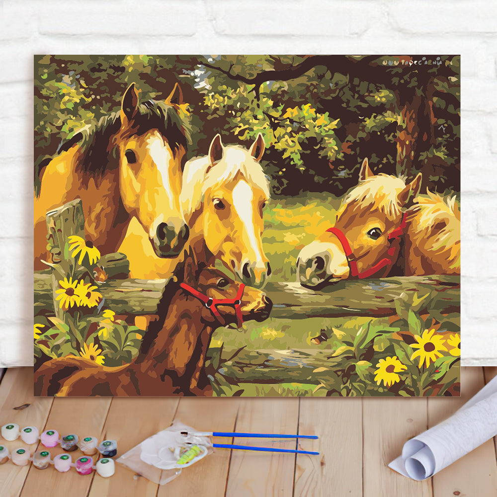 DIY Paint By Numbers Custom Photo Painting Home Decor Wall Hanging-Well-Three horses Painting