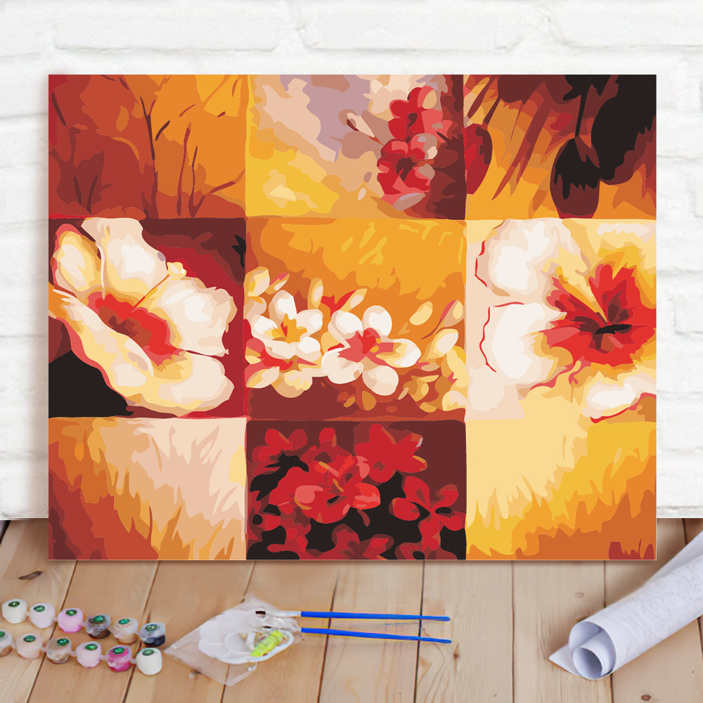 DIY Paint By Numbers Custom Photo Painting Home Decor Wall Hanging-Nine flowers Painting