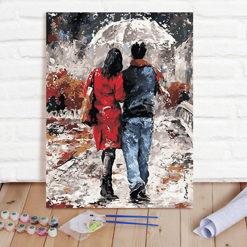DIY Paint By Numbers Custom Photo Painting Home Decor Wall Hanging-Couple walking in the rain Painting