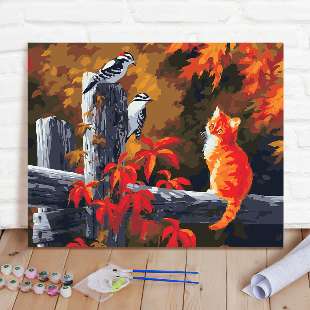 DIY Paint By Numbers Custom Photo Painting Home Decor Wall Hanging-Bird and cat Painting