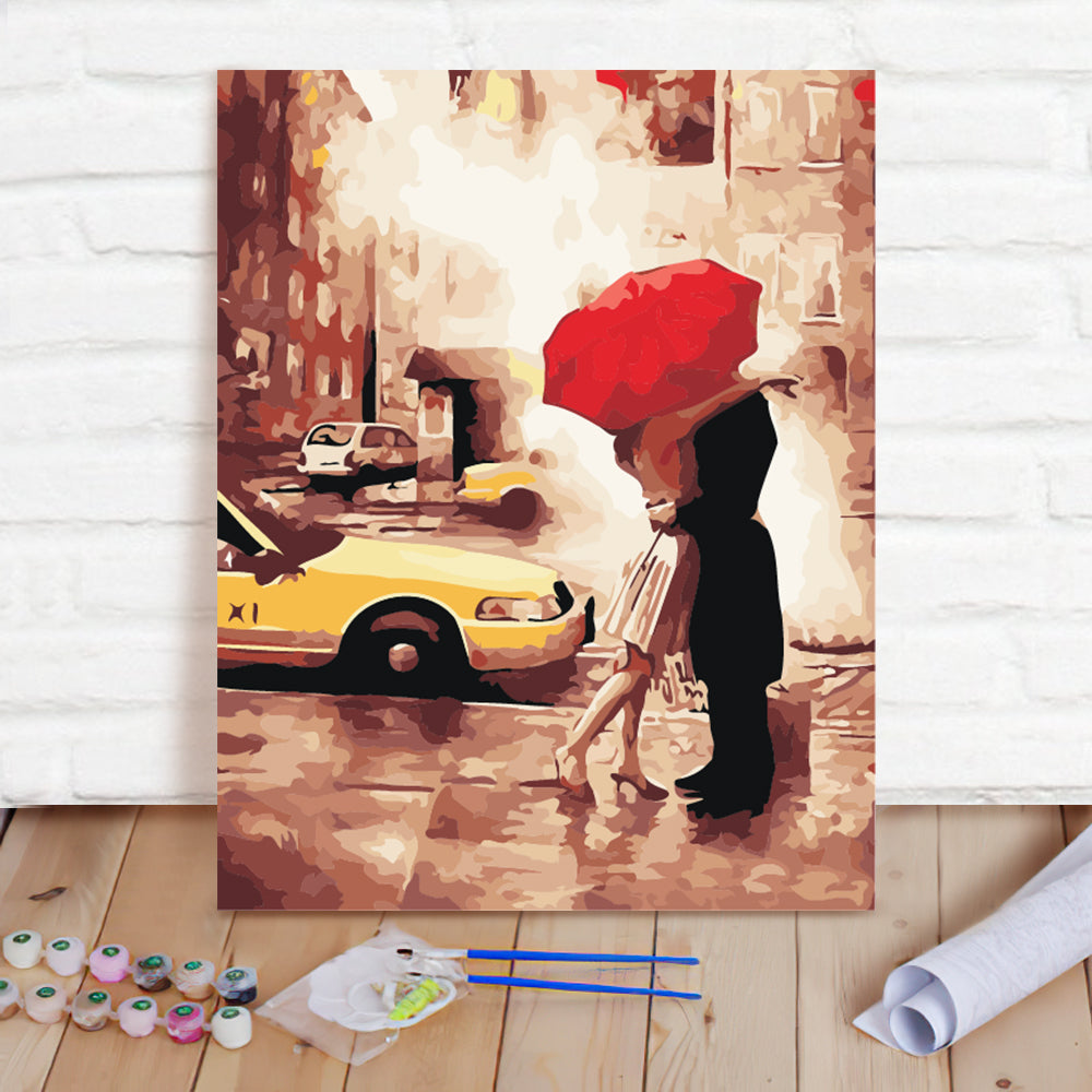 DIY Paint By Numbers Custom Photo Painting Home Decor Wall Hanging-Couple holding an umbrella Painting