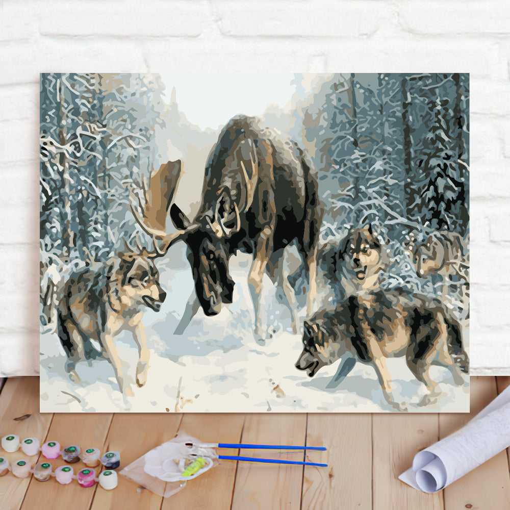 DIY Paint By Numbers Custom Photo Painting Home Decor Wall Hanging-A pack of wolves and deer Painting