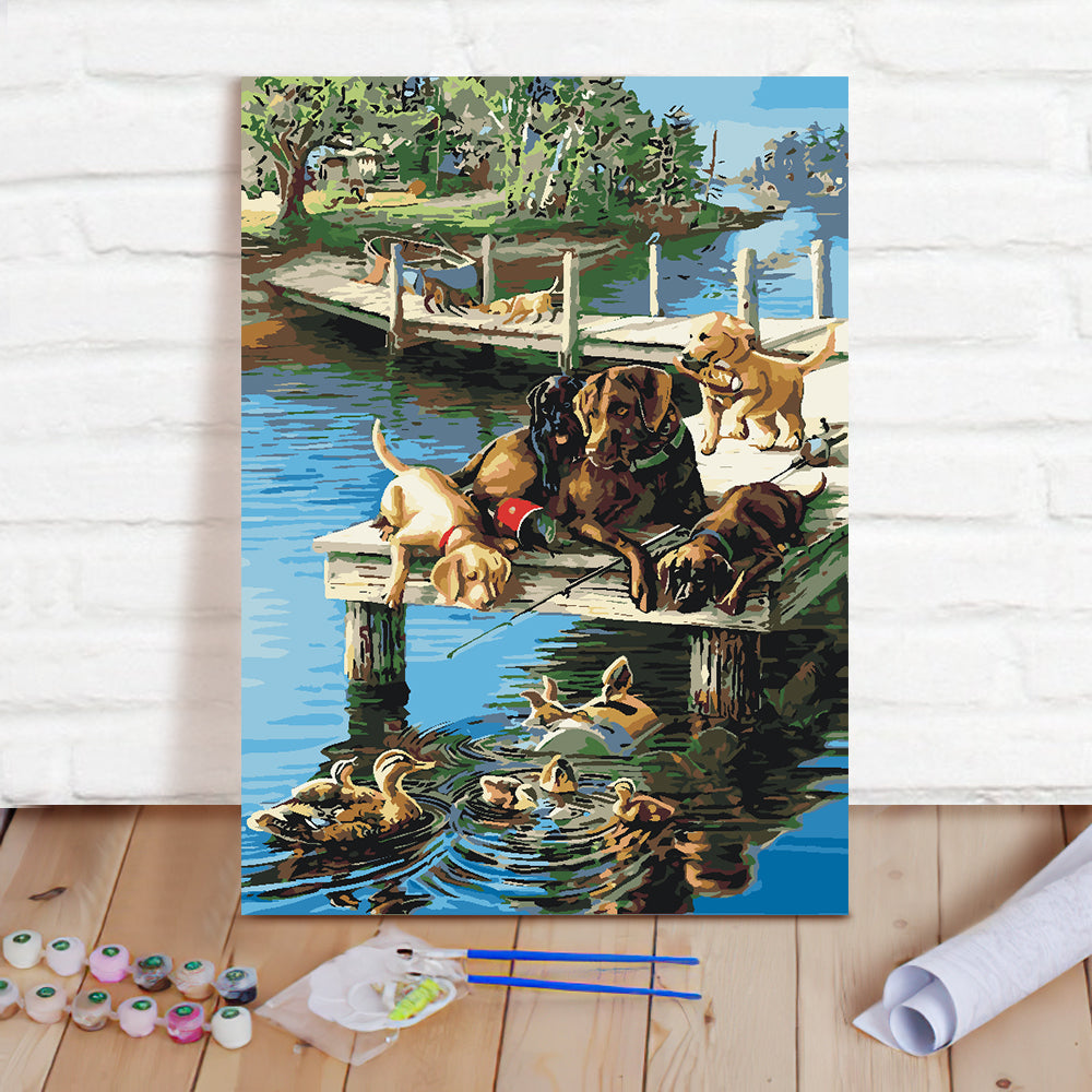 DIY Paint By Numbers Custom Photo Painting Home Decor Wall Hanging-Farmer by the river Painting