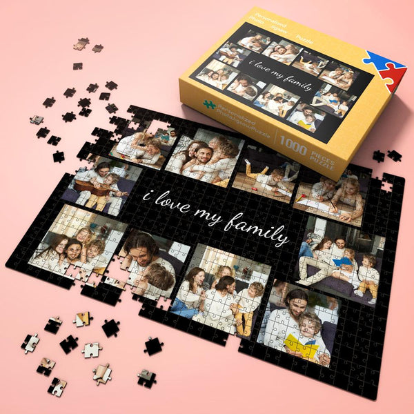 Father's Day Gift Custom Photo Jigsaw Puzzle with 10 photos - I love my family