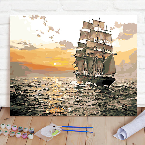 DIY Paint By Numbers Custom Photo Painting Home Decor Wall Hanging-Sailing Ship On The Sea Painting