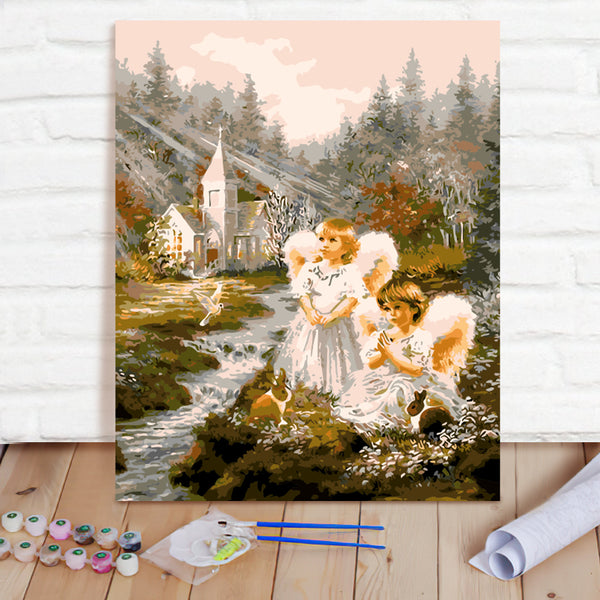 DIY Paint By Numbers Custom Photo Painting Home Decor Wall Hanging-Angel Look Up Painting