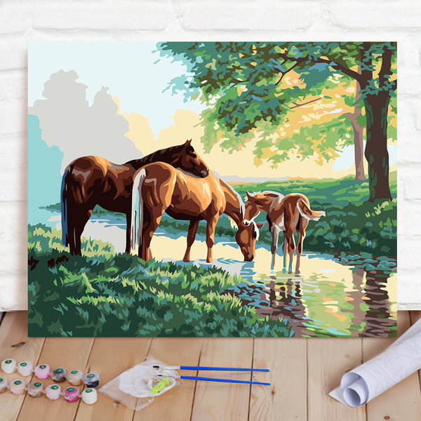 DIY Paint By Numbers Custom Photo Painting Home Decor Wall Hanging-Three Horses Painting
