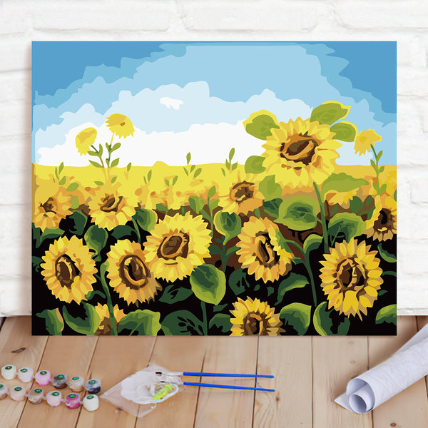DIY Paint By Numbers Custom Photo Painting Home Decor Wall Hanging-Sunflower Painting