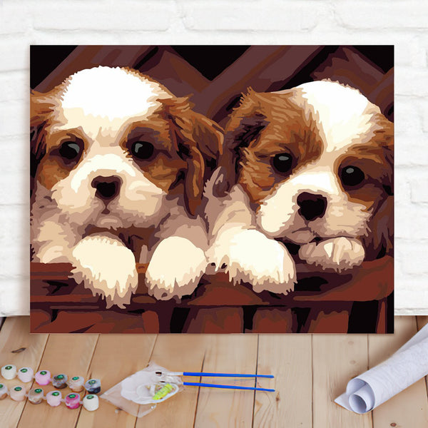 DIY Paint By Numbers Custom Photo Painting Home Decor Wall Hanging-Cute Dog Painting