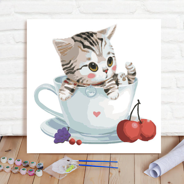 DIY Paint By Numbers Custom Photo Painting Home Decor Wall Hanging-Cute Little Tabby Cat Painting