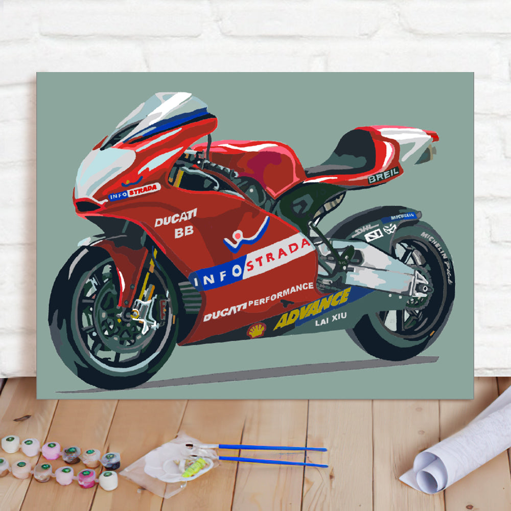 DIY Paint By Numbers Custom Photo Painting Home Decor Wall Hanging-Motorcycle Painting