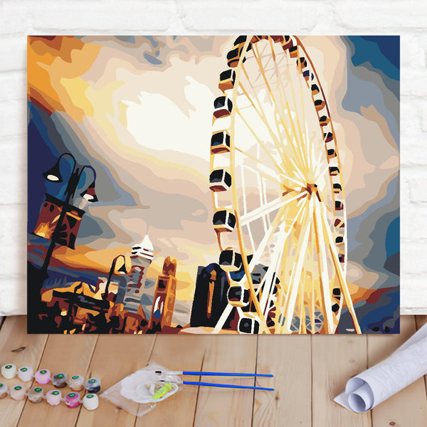 DIY Paint By Numbers Custom Photo Painting Home Decor Wall Hanging-Ferris Wheel Painting